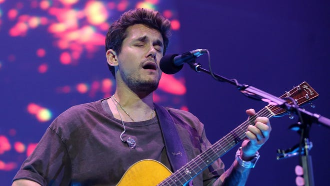 "John Mayer performed at Bridgestone Arena in Nashville on Tuesday, Aug. 8, 2017. He recognized Glen Campbell who died that day by playing ""Gentle On My Mind."""