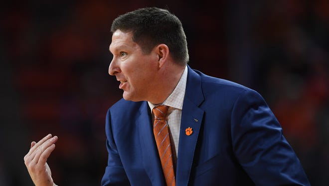 Clemson head coach Brad Brownell coaches against Louisville during the 2nd half on Saturday, January 6,  2018 at Clemson's Littlejohn Coliseum.