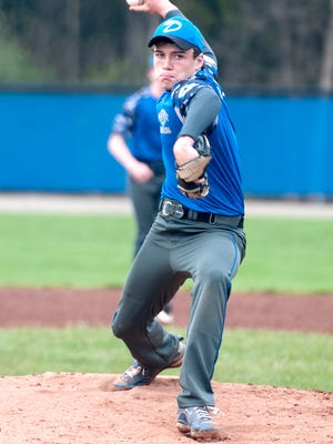 Danbury's Justin Tibbels pitches during the Lakers' game against Toledo Christian at LaFarge Field in Danbury on Thursday.
