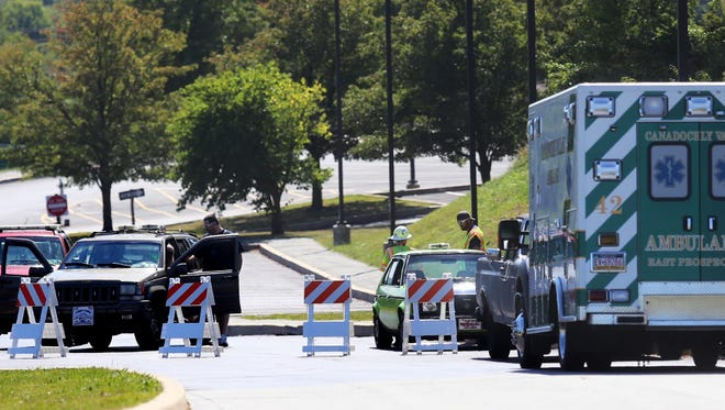 An access road outside Eastern York Middle School is blocked as emergency personnel respond to a second bomb threat at Eastern Middle School on Thursday, Sept. 22, 2016. Amanda J. Cain photo