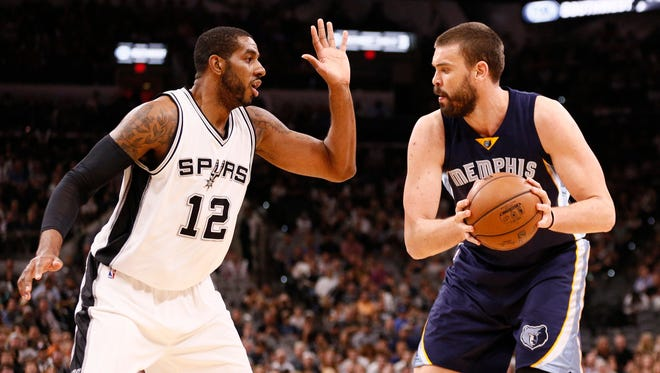 Memphis Grizzlies center Marc Gasol (right) is defended by San Antonio Spurs power forward LaMarcus Aldridge (12) during the first half in game five of the first round of the 2017 NBA Playoffs at AT&T Center.