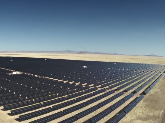 The 50-megawatt Macho Springs solar plant near Deming, N.M., the largest solar plant in New Mexico, is one of several solar plants producing electricity for El Paso Electric. Macho Springs produces enough power to supply electricity to about 18,000 homes.