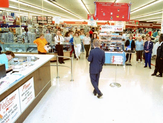 A large crowd of shoppers in Kmart on North Main Street