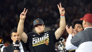 USC Trojans quarterback Sam Darnold (14) celebrates on the podium after defeating the Penn State Nittany Lions in the 2017 Rose Bowl game at Rose Bowl.