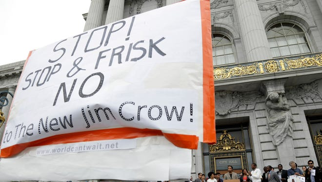 A rally in opposition to stop-and-frisk outside of city hall in San Francisco.