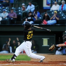 Brandon Jones of the Canaries singles Tuesday night for one of only five hits against Lincoln at Sioux Falls Stadium. The Canaries fell 5-0.