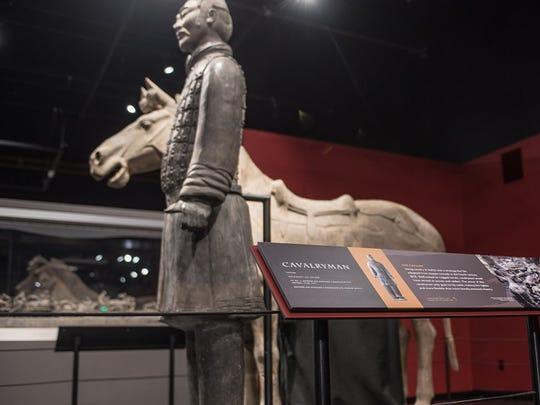 A terracotta statue lost his thumb to an intruder at the Franklin Institute in Philadelphia, authorities say.