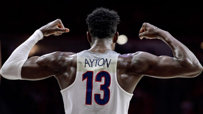 Mar 1, 2018: Arizona Wildcats forward Deandre Ayton (13) flexes during the second half against the Stanford Cardinal at McKale Center.