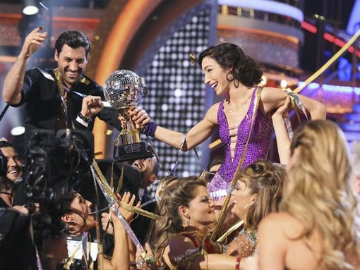 "Maks Chmerkovskiy and Meryl Davis during the Tuesday night finale of ABC's ""Dancing with the Stars."""