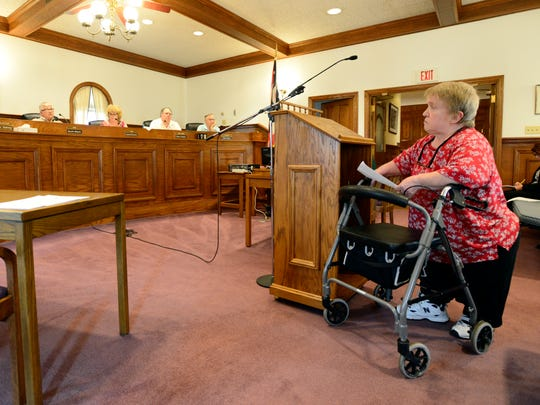 Jan Brewer addresses Clyde city council in June 2016 about her concerns the city's seven parks are not accessible to her. said she estimated about 500 people in Clyde have some sort of issue with a birth defect or ambulation difficulties.