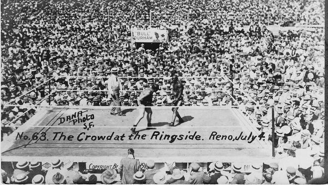 More than 20,000 people filled the arena to witness the heavyweight championship fight between champion Jack Johnson and former champion Jim Jeffries on July 4, 1910 in Reno.