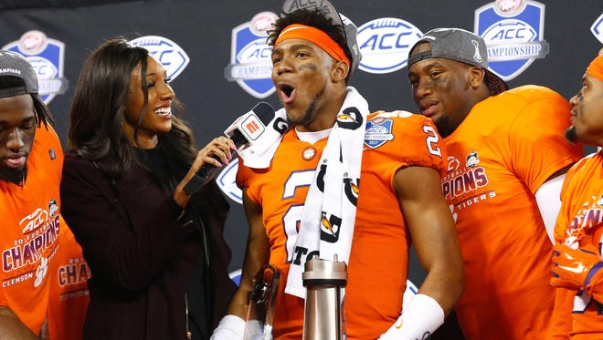 Clemson quarterback Kelly Bryant is interviewed after the Tigers defeated Miami (Fla.) in the ACC championship game.