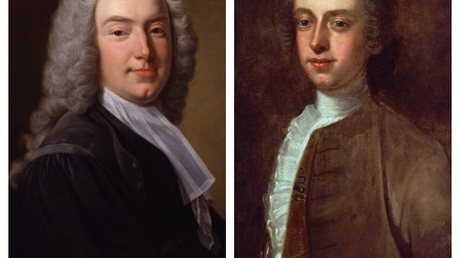 Colonial Governor Thomas Hutchinson, left, named the town of Mansfield  in honor of William Murray, right, the First Earl of Mansfield, England, who was Chief Justice of the King's Bench.