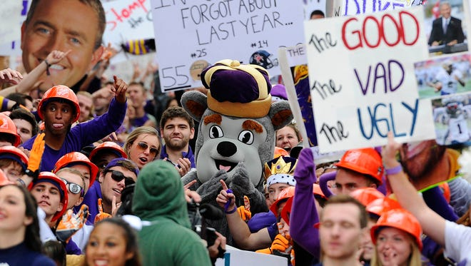 The Dukes mascot in the crowd during the GameDay broadcast in the front of Wilson Hall on the campus of James Madison University on Oct. 24.