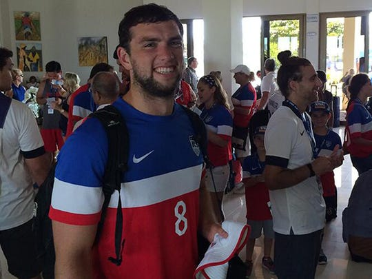 U.S. Soccer tweeted this photo of the Colts' Andrew Luck wearing a Team USA jersey and standing with a group going to the match against Belgium in Salvador, Brazil. Are you showing your colors? Tweet @indystar or post a photo on IndyStar's Facebook wall.