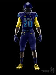"UNR student Micah Soga designed ""Battle Born"" uniforms for the Nevada football team."