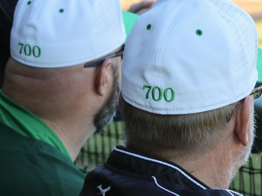 The Catholic High School baseball team wore special hats in honor of head coach Richard LaBounty's 700th career win during the team's game against Florida State University School Saturday afternoon at Catholic High School.