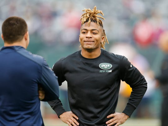 Jets defensive back Buster Skrine at MetLife Stadium before a game against the New England Patriots on Dec. 27, 2015.