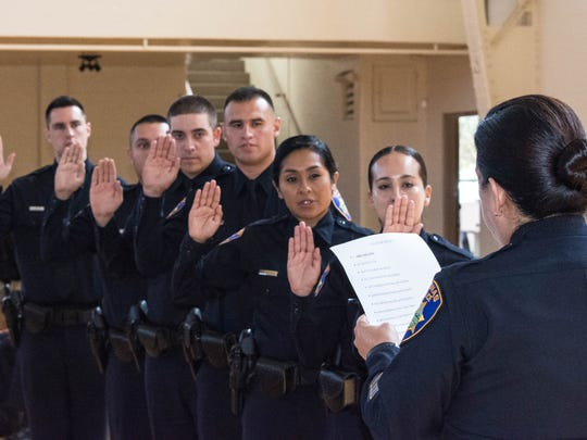 The Salinas Police Department swore in six newly graduated officers on Aug. 29, 2017.