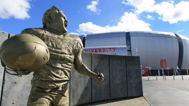 A statue of Pat Tillman outside University of Phoenix Stadium, home of the Arizona Cardinals.
