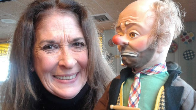 """This Emmett Kelly clown doll was presented as a gift to Janice Aria by a friend in her Iowa City writing class. """"I treasure it,"""" said the former circus performer."""