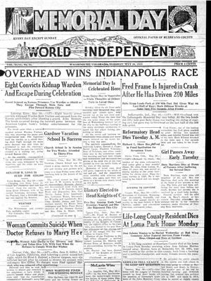 The front page of the World-Independent declaring Will Overhead the winner of the 1933 Indianapolis 500.