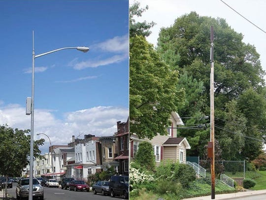 Two examples of small cell towers in different cities.