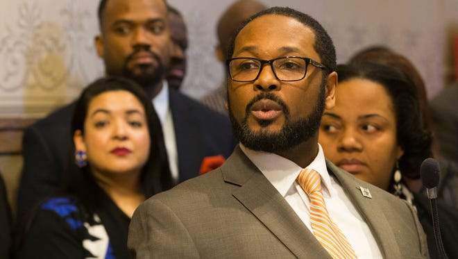 Milwaukee Common Council President Ashanti Hamilton talks about the Promise Zone initiative during at a news conference Tuesday at City Hall.