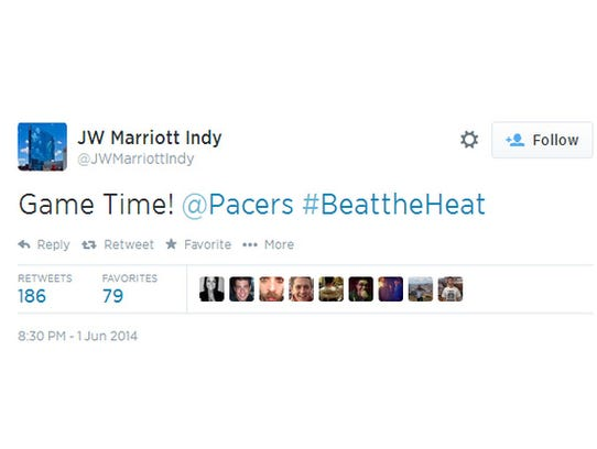 """Game Time! @Pacers #BeatTheHeat"" tweeted the JW Marriott Indy account on Twitter on Sunday night, despite the face there was no Game 7, said the blog SB Nation."