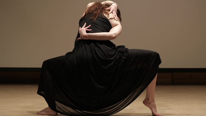 "Choreographer Mindy Chanson in a dance position from ""Lupercalia über Alles."""