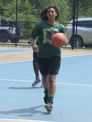 Arieonna Ware works on her game at Claude Evans Park