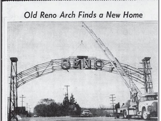 A March 31, 1964 news clipping shows the Old Reno Arch being moved to Idlewild Park after the second Reno Arch was installed in downtown Reno