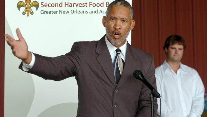 State Representative Rickey Hardy speaking at the Second Harvest Food Bank kick-off of September as Hunger Action Month in August 2010.