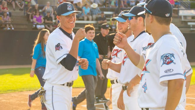 St. Cloud Rox players are introduced before their game Friday night at Joe Faber Field.