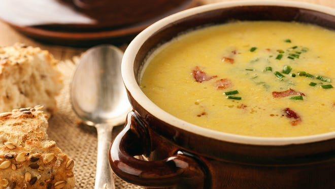 Corn cream soup with bacon chowder.
