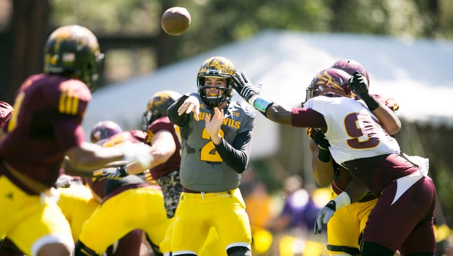 Arizona State quarterback Mike Bercovici passes during a scrimmage at Camp Tontozona near Payson on Aug. 15, 2015.