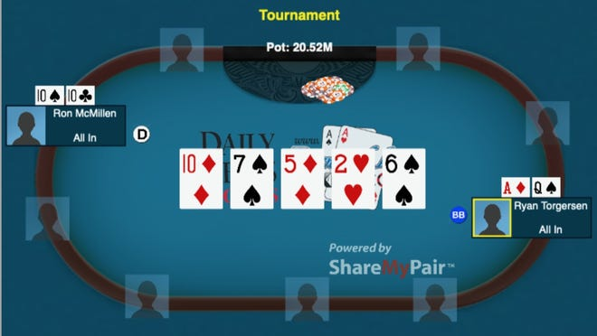 The critical hand that helped Ron McMillen win an online World Series of Poker event recently.