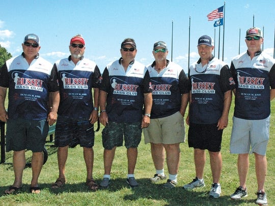 Bussey Reservoir Bass Club, one of the most decorated bass clubs in Best Six history, finished second in this year's ALBC 47th annual Best Six club championship. They finished with an 18-fish sack, weighing 57.65 pounds. From left, members of the teams were Jeff Pearson, Calvin Lusby, Grady Rinehart, Frank Fulmer, Kris Fulmer and Phillip Boatright.