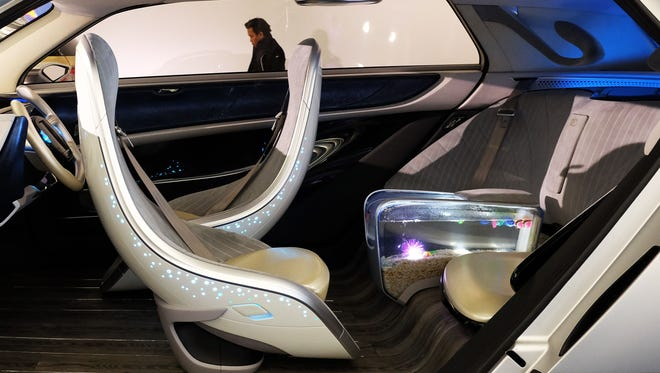 The interior of Chinese automaker GAC Group's concept autonomous electric car Witstar, or Winstar, has a built-in fish tank. It was on display at the North American International Auto Show in Detroit.
