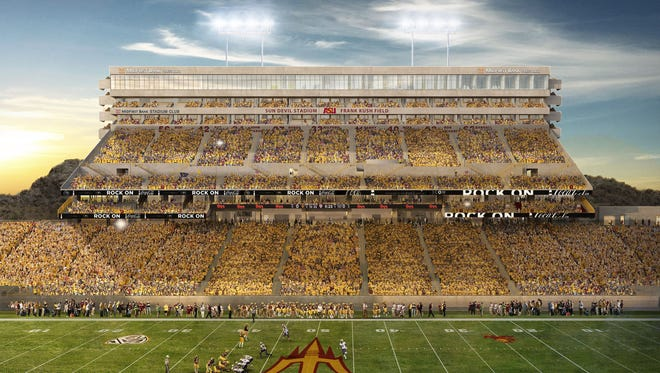 An overview of the reinvented west side of Sun Devil Stadium.