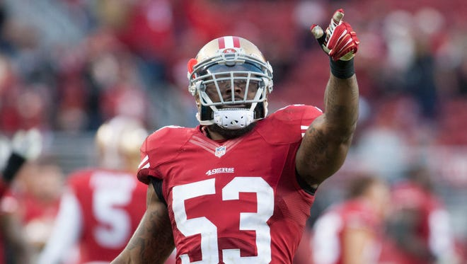 San Francisco 49ers inside linebacker NaVorro Bowman (53) celebrates after the 49ers recovered an onside kick during the fourth quarter at Levi's Stadium.