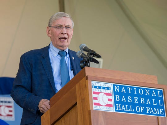 Bud Selig makes his acceptance speech at Clark Sports Center in Cooperstown, N.Y.