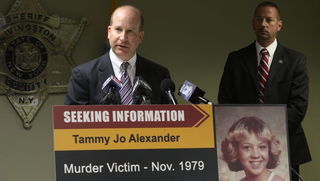 FBI Special Agent in Charge Adam S. Cohen announced a reward up to $20,000 for the arrest and conviction of the person responsible for the homicide of Tammy Jo Alexander during a joint press conference with the Livingston County Sheriff's Office Monday, August 8, 2016.