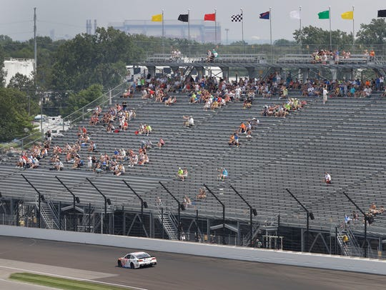 Fans in the South Vista watch at Tony Stewart drives