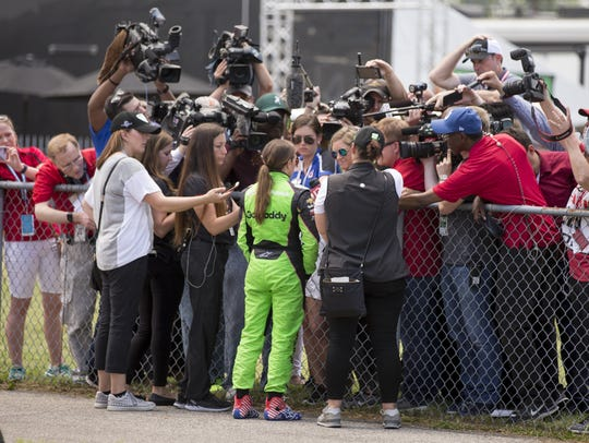 Danica Patrick speaks with the media after her crash