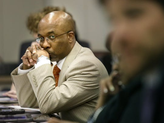 Memphis City Council member Martavius Jones listens