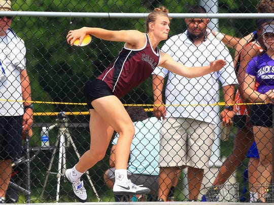 GABE HERNANDEZ/CALLER-TIMES Calallen's Alexis Sacky placed second in the Region IV-5A discus with a throw of 124-1, two inches shy of the regional champion Friday at Alamo Stadium in San Antonio.