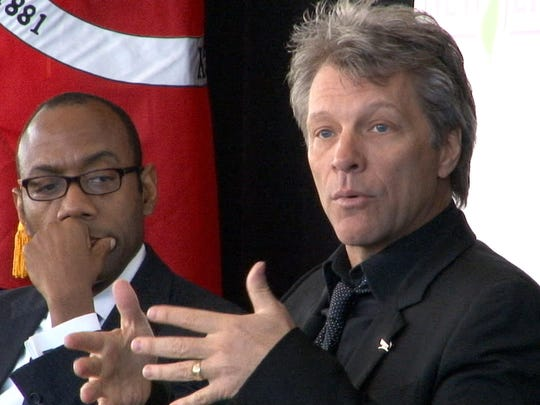 JBJ Soul Foundation board chairman Jon Bon Jovi speaks during an event Monday announcing the creation of New Start New Jersey. At left is Cornell William Brooks, president and CEO of the NAACP.