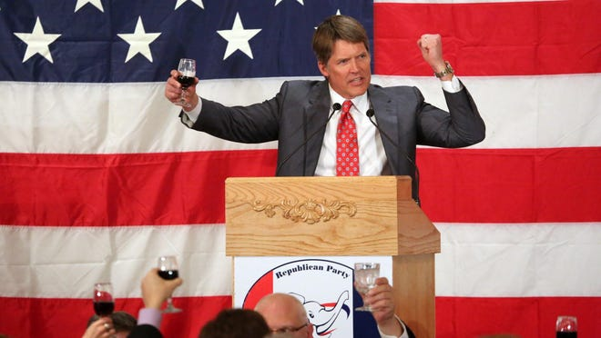 Eric Hovde, a potential challenger to Democratic U.S. Sen. Tammy Baldwin, gives the toast at the Presidential Dinner hosted by the Milwaukee County Republican Party at Serb Hall in Milwaukee.