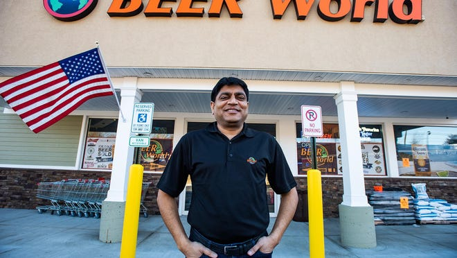Sonny Patel, Beer World's founder and managing general partner, stands outside the local chain's newest store on Route 211 in the Town of Wallkill on Monday.